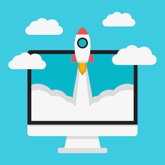 Raketlancering en computer
