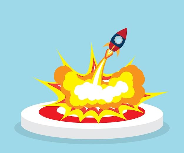 Raketlancering fron dartbord doel vectorillustratie