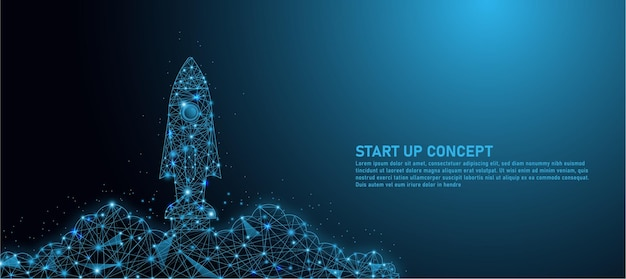 Raketlancering, ideeën voor het opstarten van bedrijven, maak driehoekige lijnen, startups en achtergrond in deeltjesstijl