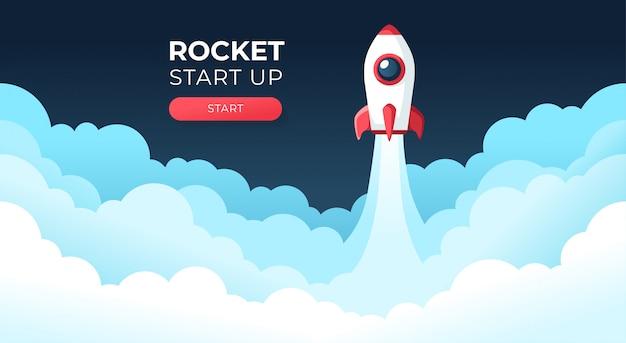 Raketlancering in de lucht die over wolken vliegt. ruimteschip in rookwolken. bedrijfsconcept. sjabloon opstarten. horizontale achtergrond. eenvoudig modern cartoonontwerp. vlakke stijl illustratie.