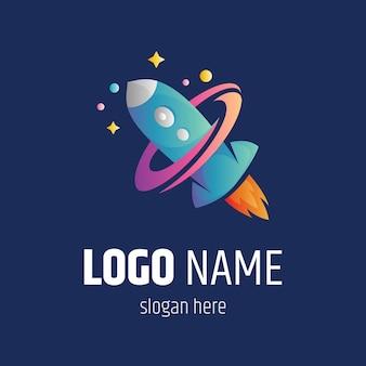 Raketlancering logo vector sjabloon