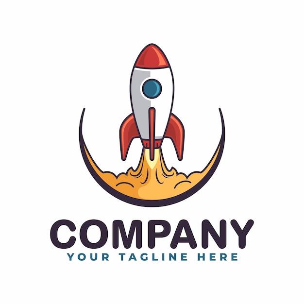 Raketlancering minimalistisch logo sjabloon