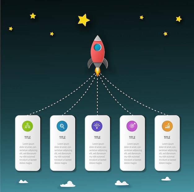 Raketlancering naar de nacht met label- en zakelijke elementen. infographic sjabloon en vector papier gesneden concept.