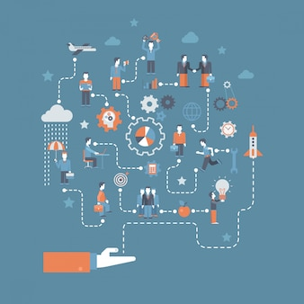 Raketlancering van hand en opstarten van bedrijven creatie proces verbindingen illustratie.