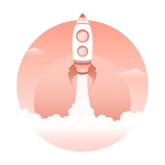 Raketlancering, vectorruimteschip. opstarten concept.