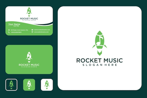 Raketmuziek logo-ontwerp en visitekaartje
