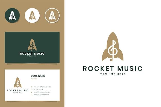 Raketmuziek negatief ruimtelogo-ontwerp