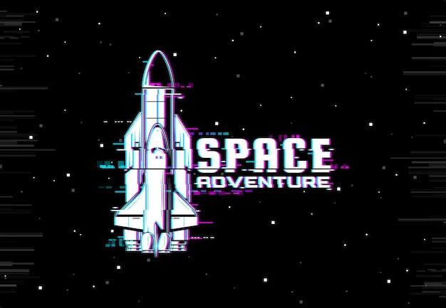 Raketruimteschip op scherm met pixels digitale ruis