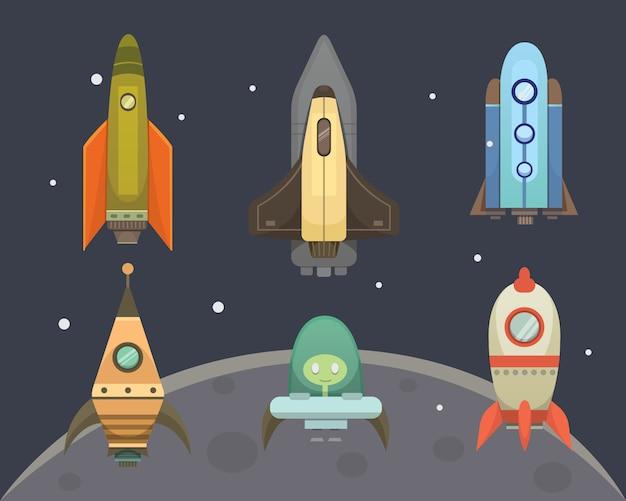 Raketschip in cartoon-stijl. nieuwe bedrijven innovatie ontwikkeling pictogrammen sjabloon. ruimteschepen illustraties set.