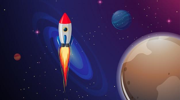 Raketschip in de ruimte