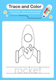 Raketspoor en kleutertraceerwerkblad voor kinderen om de fijne motoriek te oefenen