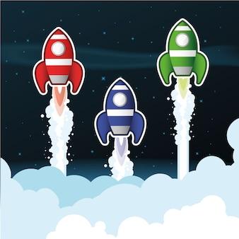Raketten boven wolken
