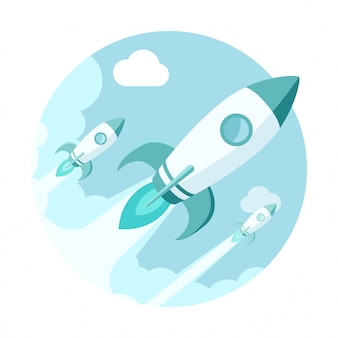 Raketten in de lucht. moderne vlakke stijl opstarten illustratie.
