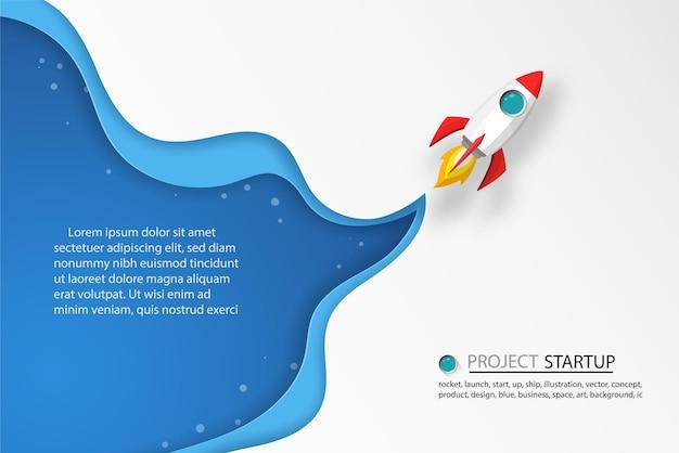 Raketten lanceren de lucht met tekst, label en wolken