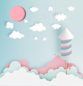 Raketvuurwerk met pastelkleurtoonachtergrond in document art