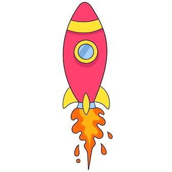 Raketwerper raket. kartonnen emoticon. doodle pictogram tekening, vectorillustratie