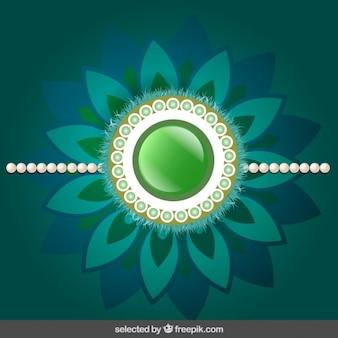Rakhi achtergrond met groene bloemen sieraden