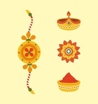 Raksha bandhan icoon collectie op gele achtergrond