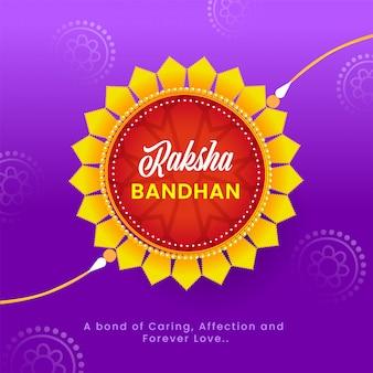 Raksha bandhan-lettertype op mandala rakhi en paarse achtergrond.