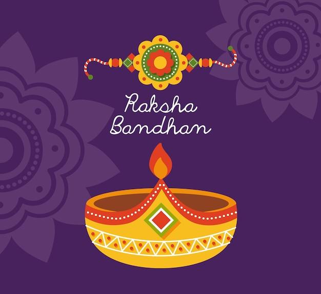 Raksha bandhan polsbandje en kaars op paarse achtergrond