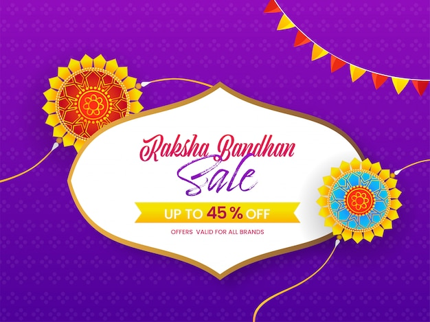 Raksha bandhan sale poster kortingsaanbieding en mandala rakhis op paarse achtergrond.