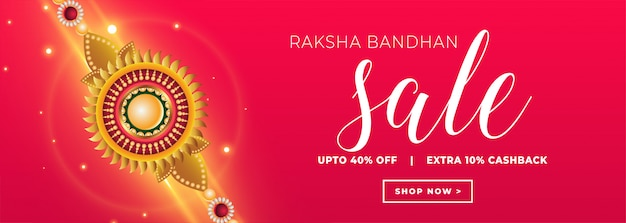 Raksha bandhan verkoopbanner met gouden rakhi