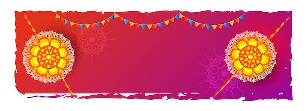 Raksha bandhan-vieringsachtergrond met mooie rakhi (polsbandjes) wordt verfraaid die.