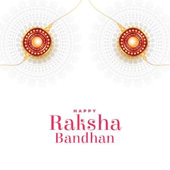 Raksha bandhan wenst kaart met rakhi op witte achtergrond