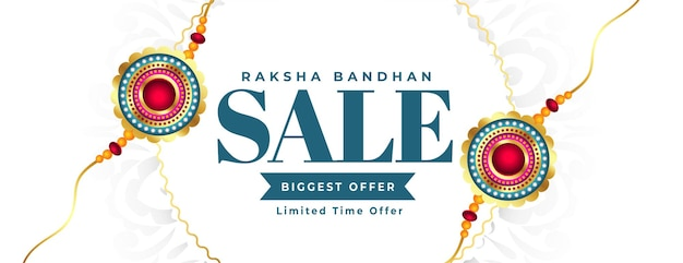 Raksha bandhan witte verkoopbanner met rakhi