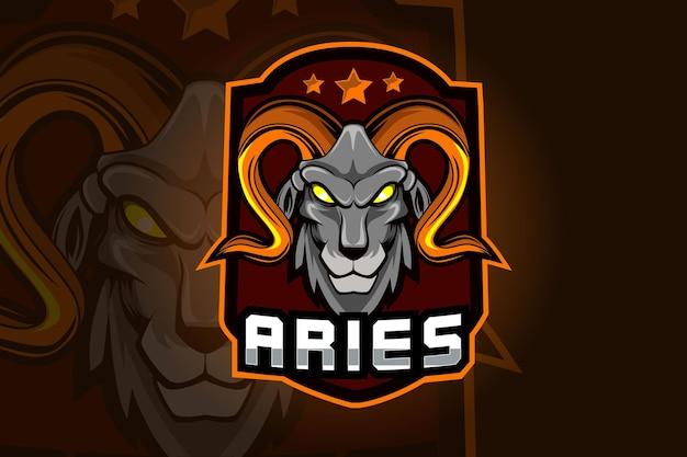 Ram geit mascotte voor sport en e sport logo geïsoleerd op donkere achtergrond