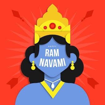 Ram navami banner in plat ontwerp