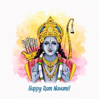 Ram navami festival karakter met traditionele kleding avatar