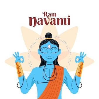 Ram navami mediterend met zijn ogen dicht