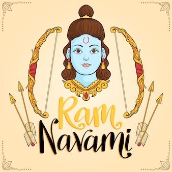 Ram navami viering hand getrokken