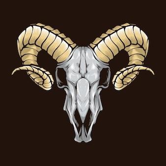 Ram schedel geïsoleerd op bruin