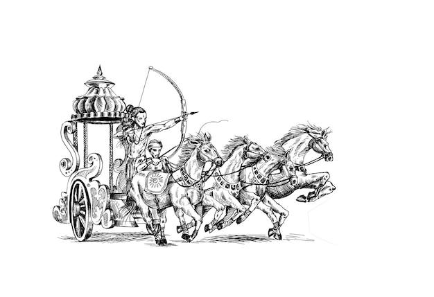 Rama doodt ravana in happy dussehra achtergrond met festival, hand getrokken schets vectorillustratie.