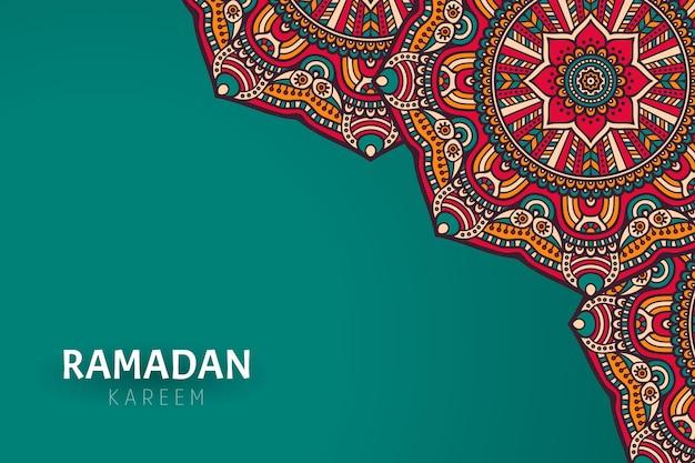 Ramadam kareem achtergrond met mandala versieringen