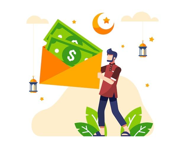 Ramadan achtergrond met een man houdt een grote envelop met bonusgeld tijdens eid day