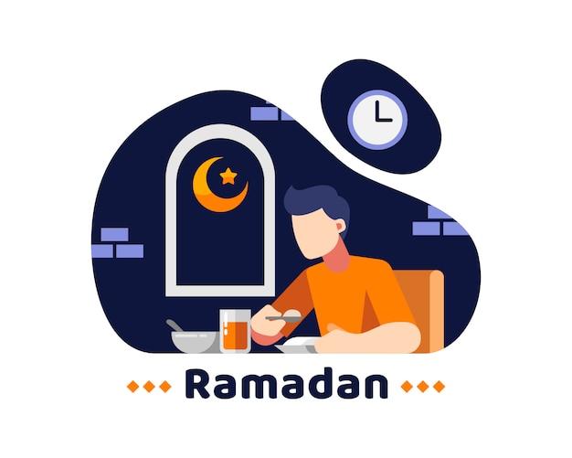 Ramadan achtergrond met jonge man eet in het midden van de nacht