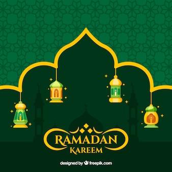 Ramadan achtergrond met lampen en ornamenten