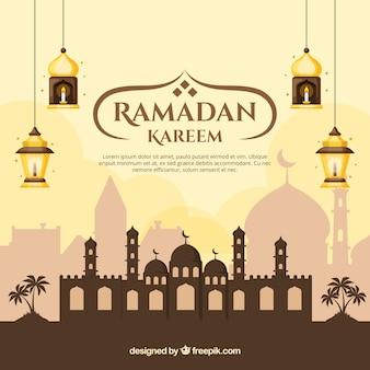 Ramadan achtergrond met moskee en lampen in vlakke stijl