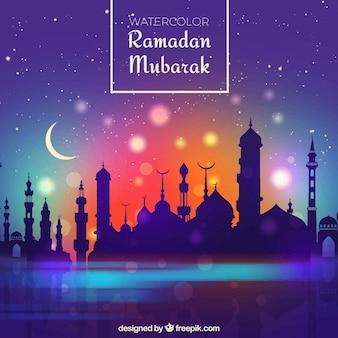 Ramadan achtergrond met moskee silhouet en kleurovergang hemel
