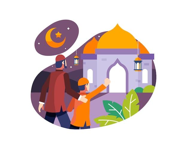 Ramadan achtergrond met vader en zoon gaan naar de moskee om 's nachts te bidden
