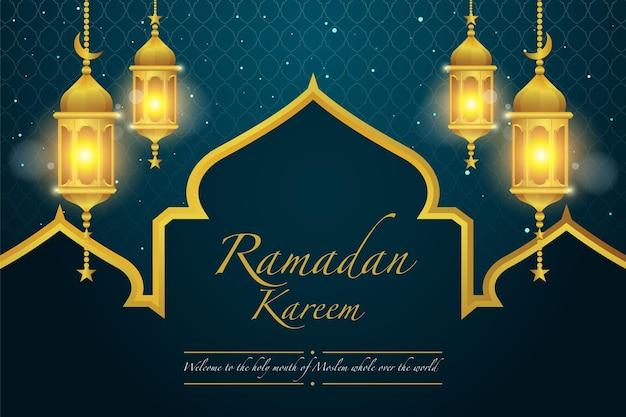 Ramadan achtergrondontwerp met gouden lantaarn