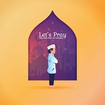 Ramadan begroetingspost - laten we bidden voor moslims