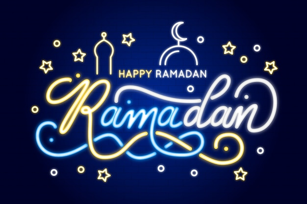 Ramadan belettering neon teken concept