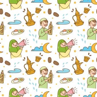 Ramadan doodle naadloze patroon