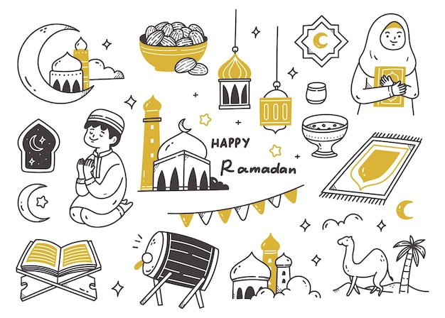 Ramadan doodle set illustratie