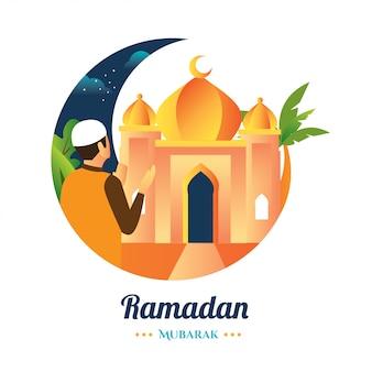 Ramadan een moslim bidt in een moskee