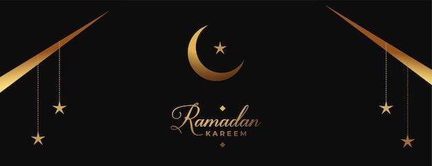 Ramadan en eid-banner in zwarte en gouden kleuren